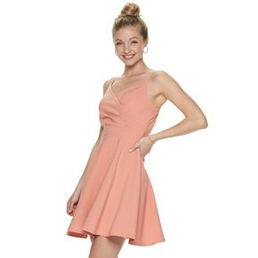 Juniors' Three Pink Hearts Wrap Bodice Skater Dress