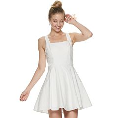 Juniors' Three Pink Hearts Cross Back Skater Dress