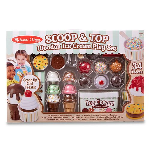 Melissa Doug Scoop And Top Wooden Ice Cream Play Set 34 Pcs