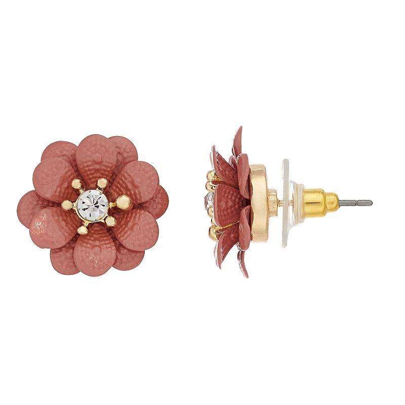LC Lauren Conrad Enamel Flower Button Earrings, Women's, Pink