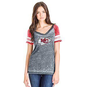 847eba2d Women's NFL Kansas City Chiefs Classic Bowtie Tri-Blend Notch Arm Striped  Tee