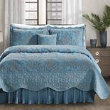 Serenta Damask Embroidered 4-Piece Bedspread and Sham Set