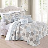 Marina Printed Quilt 6 Piece Bed Spread Set