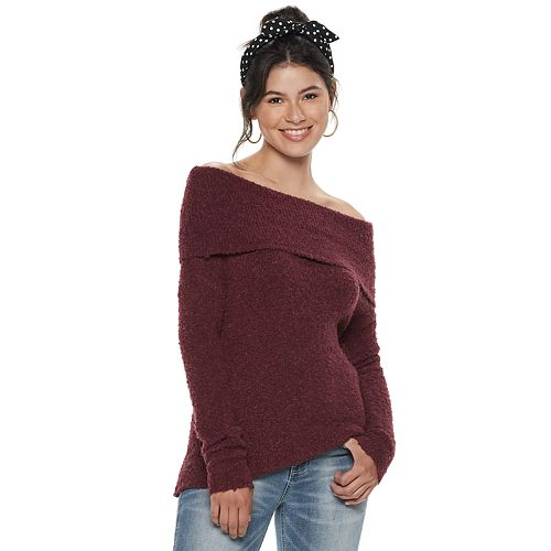 Juniors' SO® Off The Shoulder Boucle Pullover