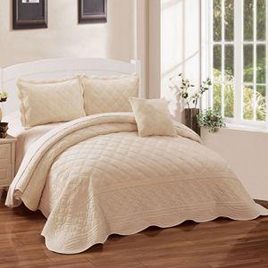 Serenta Supersoft Microplush 4-Piece Bedspread and Sham Set