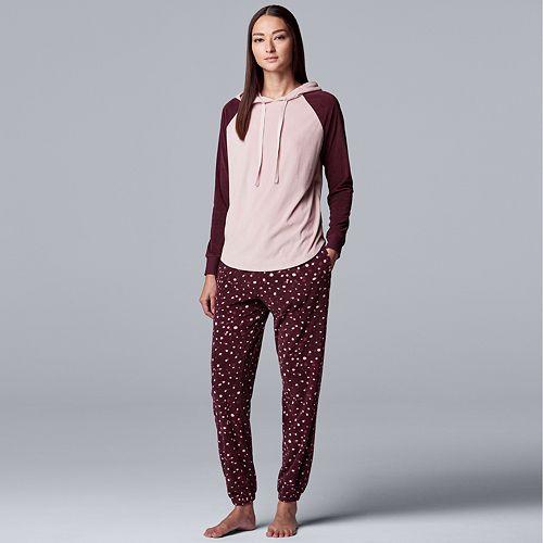 Women's Simply Vera Vera Wang Velour Hooded Top & Pajama Pants Set