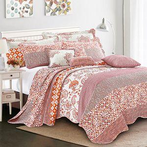 Serenta Coral Chevron 9-Piece Bedspread and Sham Set