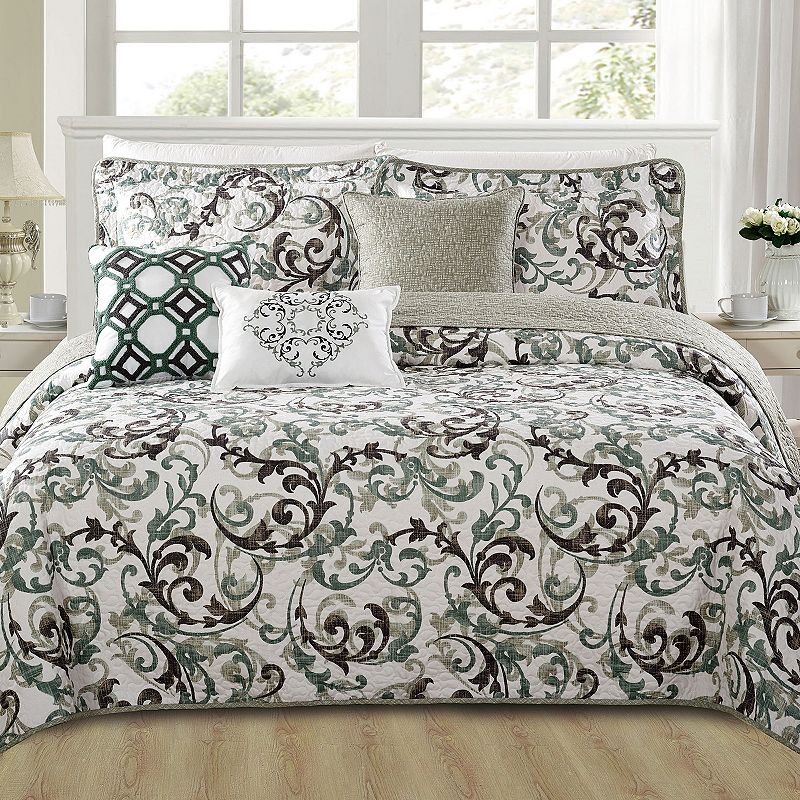 Serenta Ravello Scroll 6-Piece Coverlet and Sham Set. Green. Queen