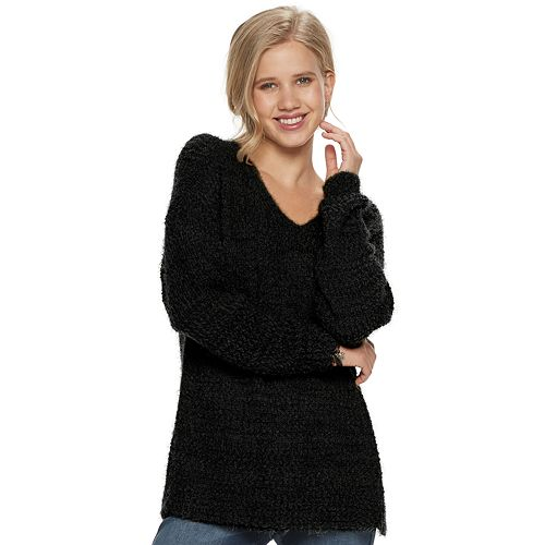 Juniors' SO Eyelash Vneck Pullover