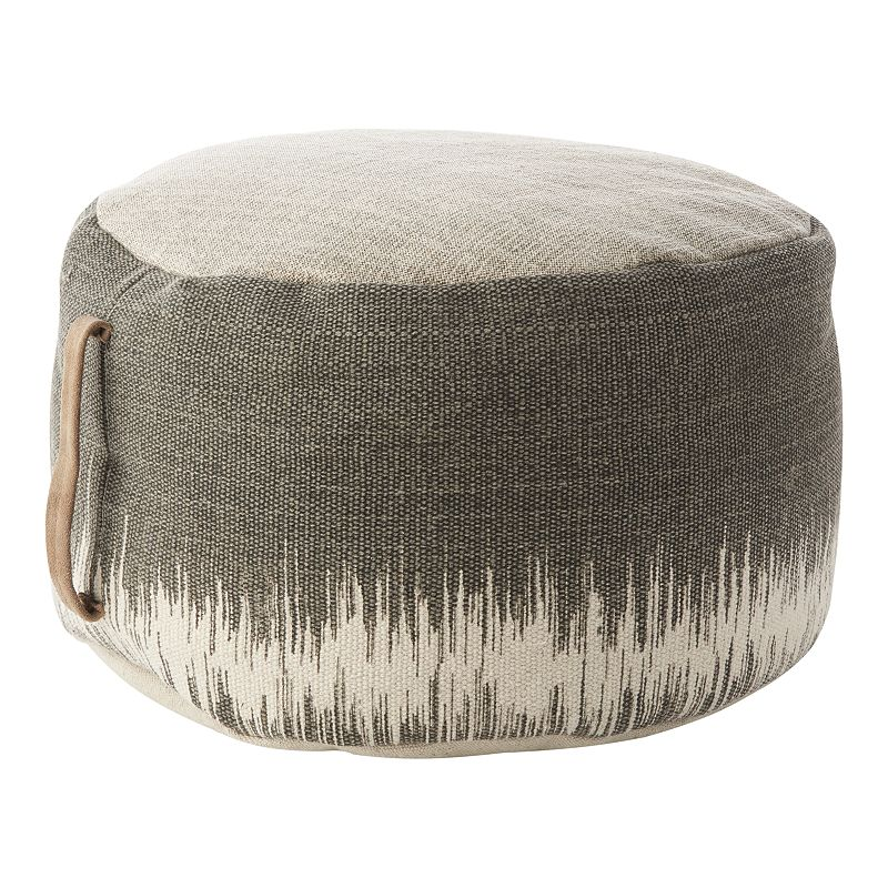 Mina Victory Stonewash Drum Pouf. Grey