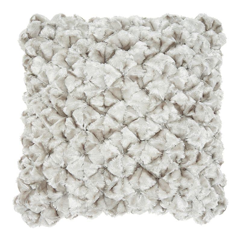 Mina Victory Velvet Shimmer Poms Silver Throw Pillow, 20X20