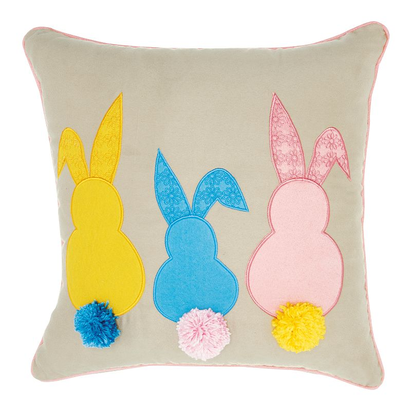 Mina Victory Home for the Holidays Bunny Tails Throw Pillow. Multicolor. 18X18