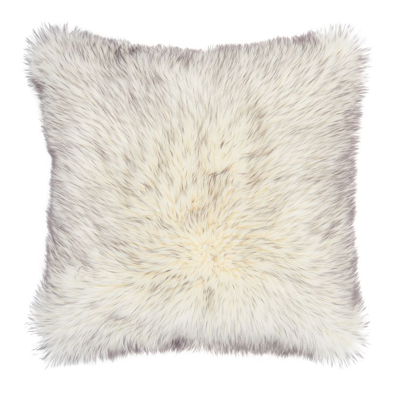 Mina Victory Tip Dyed Faux Fur Grey Throw Pillow, 22X22
