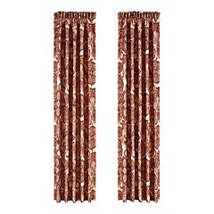 37 West Reese Burgundy Window Waterfall Valance and Panel Pair