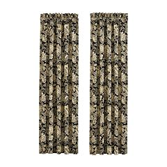 37 West Maddock Black Window Waterfall Valance and Panel Pair