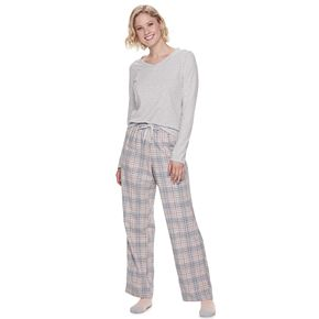 Women's SONOMA Goods for Life Knit & Flannel 3 Piece Pajama Set With Socks