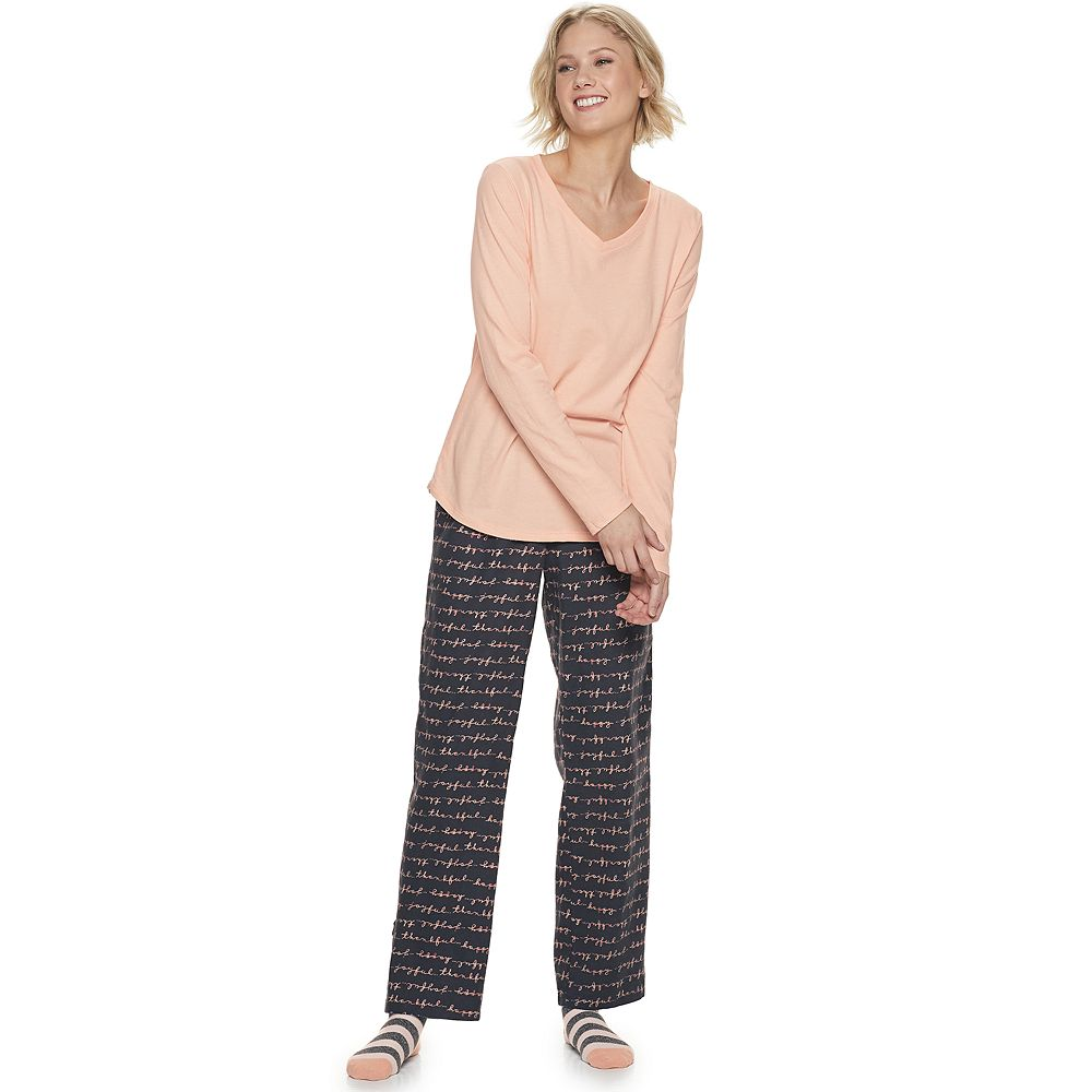 Women's SONOMA Goods for Life® Knit & Flannel 3 Piece Pajama Set With Socks