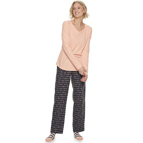 Women's SONOMA Goods for Life™ Knit & Flannel 3 Piece Pajama Set With Socks