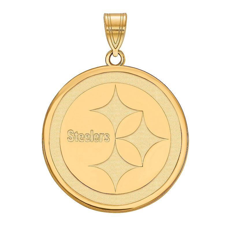 Women's NFL LogoArt Sterling Silver Gold Plated Pittsburgh Steelers Pendant. Size: 22 mm. Multicolor