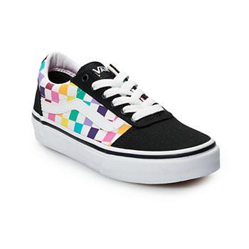 f1a74d473094a Vans Ward Girls' Rainbow Checkered Skate Shoes