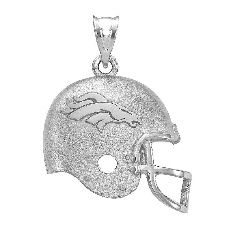 Women's NFL LogoArt Sterling Silver Denver Broncos Helmet Pendant, Size: 15 mm