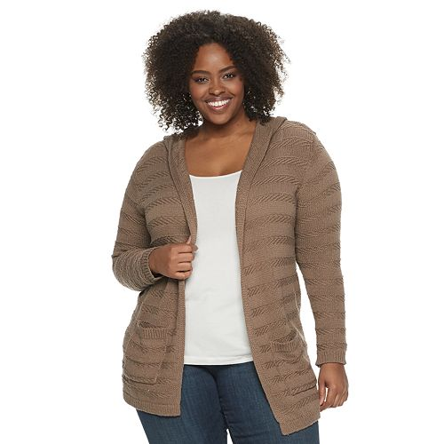 Plus Size SONOMA Goods for Life™ Float Stitch Hooded Cardigan