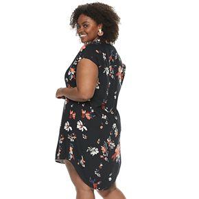Plus Size EVRI Printed Pleated Shirtdress