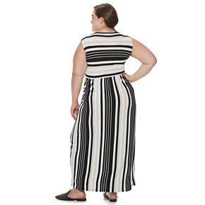 Plus Size EVRI Striped Wrap Maxi Dress