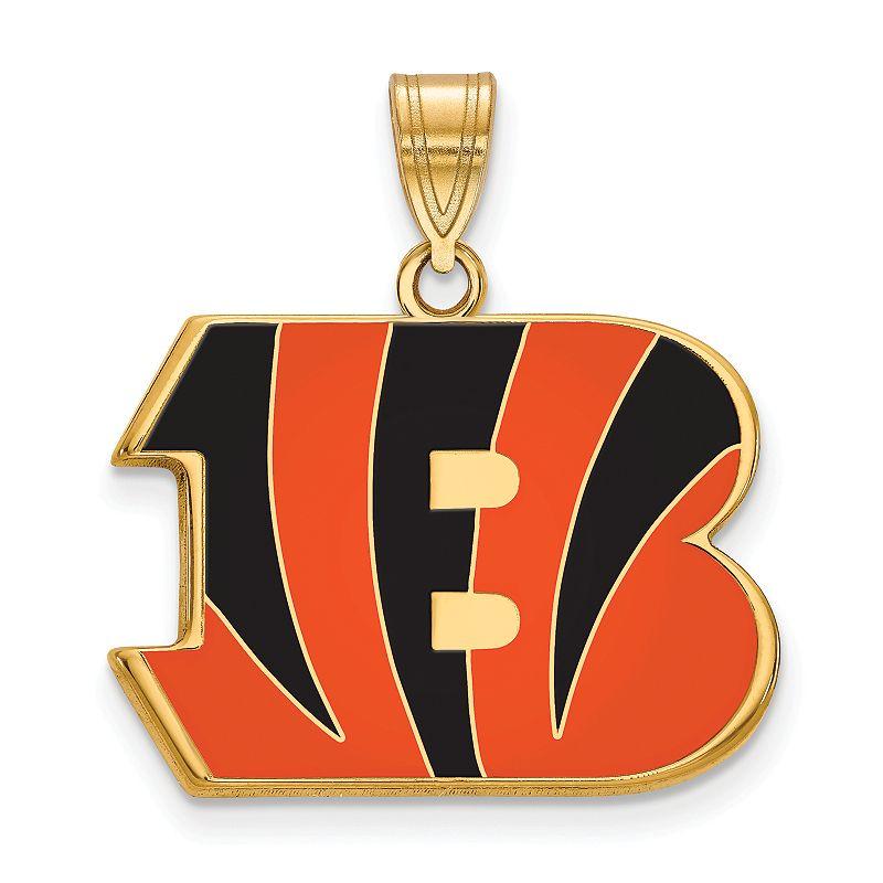 Women's NFL LogoArt Sterling Silver Cincinnati Bengals Enamel Logo Pendant, Size: 17 mm
