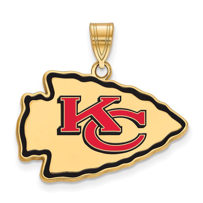 Women's NFL LogoArt Sterling Silver Kansas City Chiefs Enamel Logo Pendant. Size: 17 mm. Multicolor