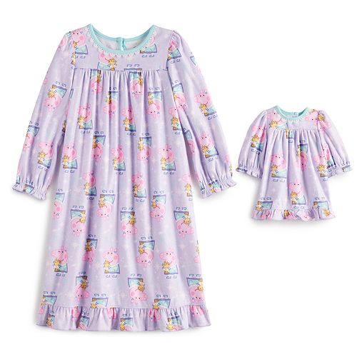 Toddler Girl Peppa Pig Gown with Matching Doll Gown