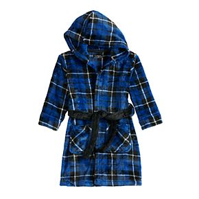 Toddler Boy CUDDL DUDS Plaid Fleece Hooded Robe