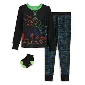 Toddler Boy Cuddl Duds® Dino PJ Set With Socks