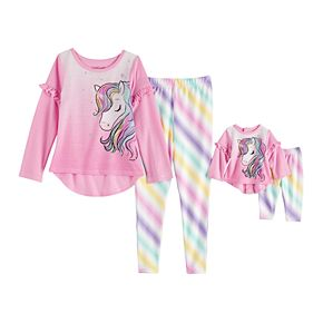 Toddler Girl Cuddl Duds® PJ Set With Matching Doll Set