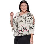 Plus Size Jennifer Lopez Bar Sleeve Peasant Top