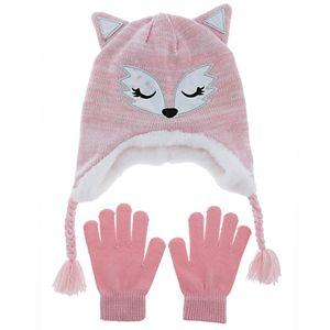 Girls 4-16 SO Fox Critter Hat and Glove Set