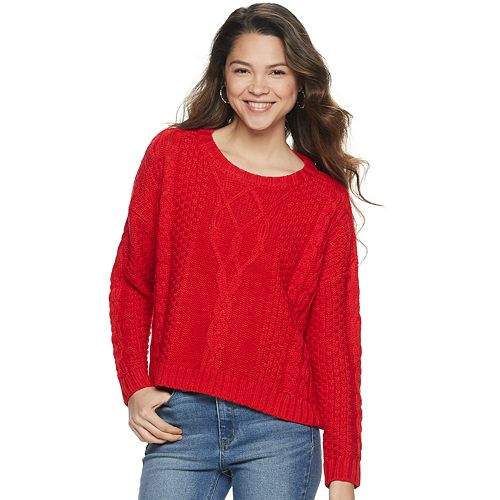 Juniors' Mudd® Drop Shoulder Cable Sweater