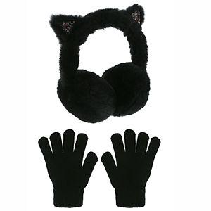 Girls SO® Kitty Ears Earmuff With 3D Ears, Crunchy Glitter Inner Ear and Magic Glove 2-Piece Set
