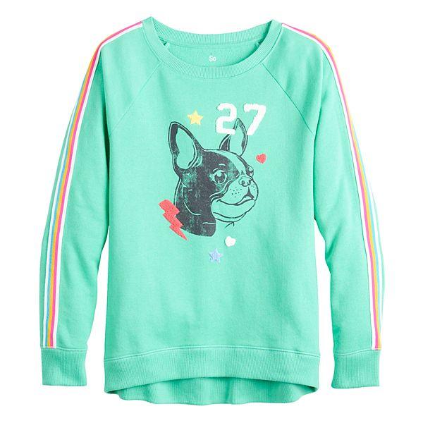 Girls 7-16 SO® Long Sleeve Raglan Crew Sweatshirt with Graphic