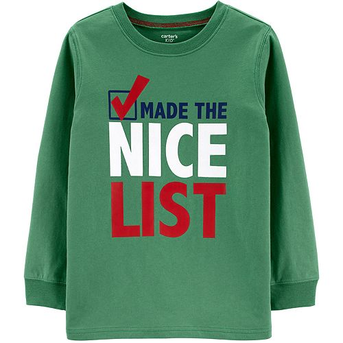 "Boys 4-14 Carter's ""Made The Nice List"" Christmas Graphic Tee"