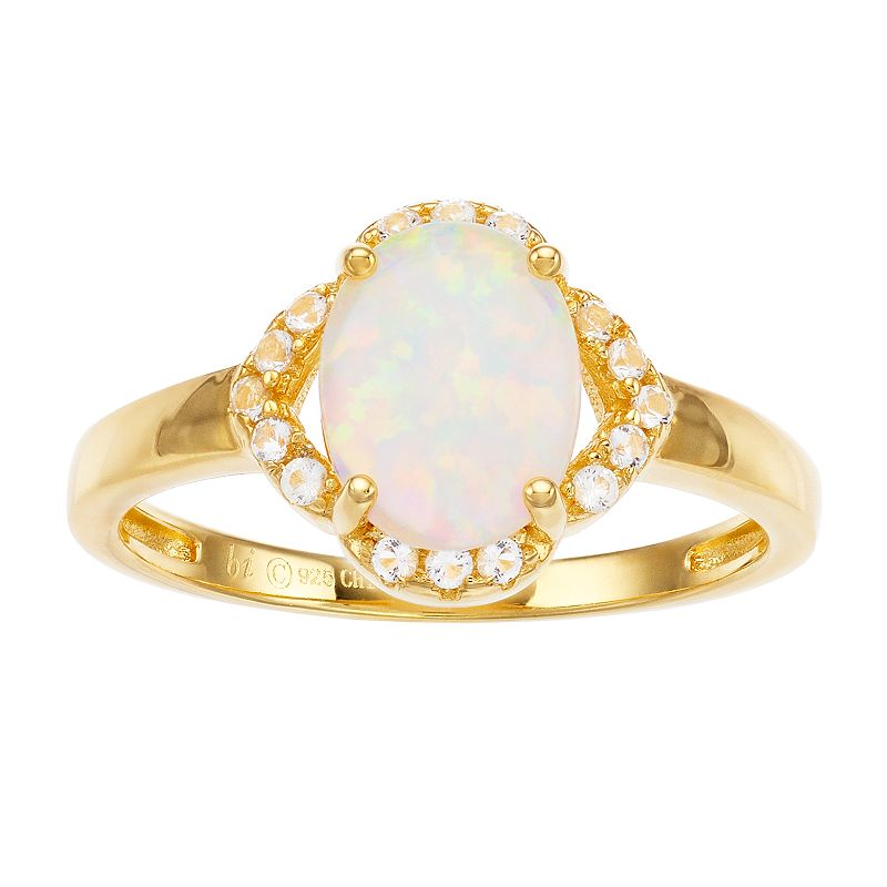 18k Gold Over Silver Lab-Created Opal Ring, Women's, White
