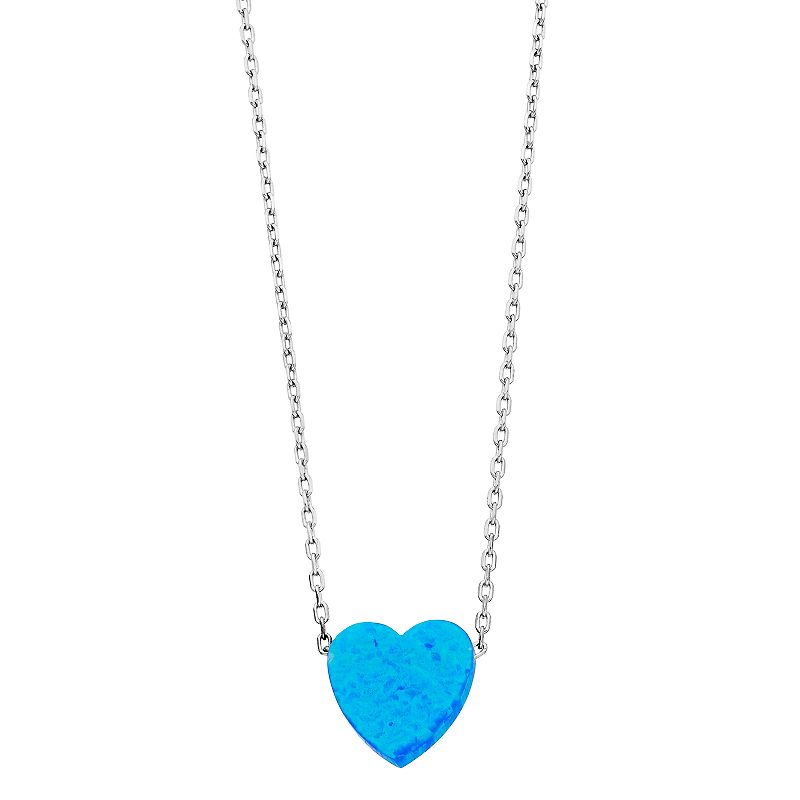 """Sterling Silver Lab-Created Blue Opal Heart Pendant Necklace. Women's. Size: 18"""""""