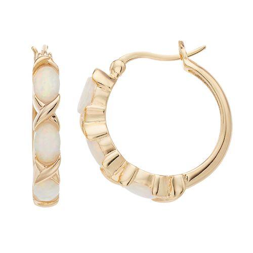2270c4316 18k Gold Over Silver Lab-Created Opal Hoop Earrings