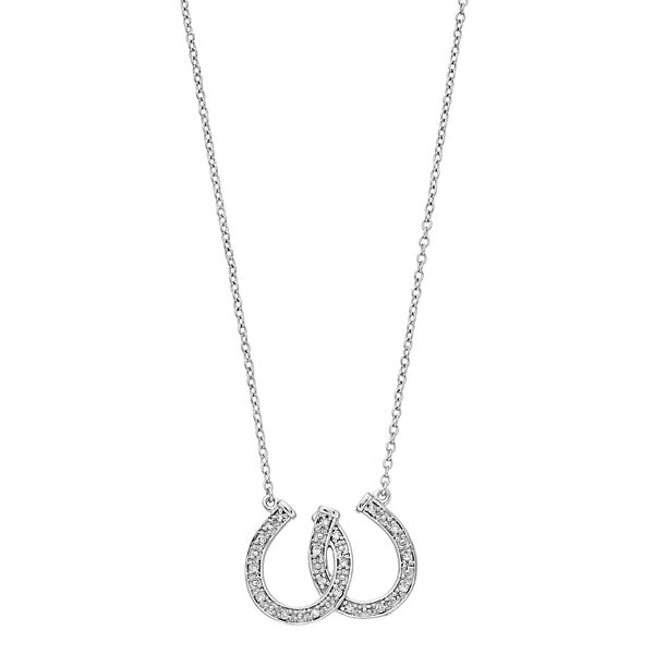 Sterling Silver 1/10 Carat T.W. Horseshoe Pendant Necklace