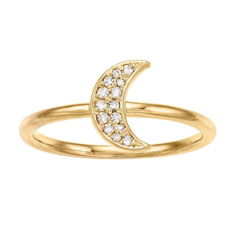 18k Gold 1/10 ct. T.W. Diamond Crescent Moon Ring, Women's, Size: 7, White