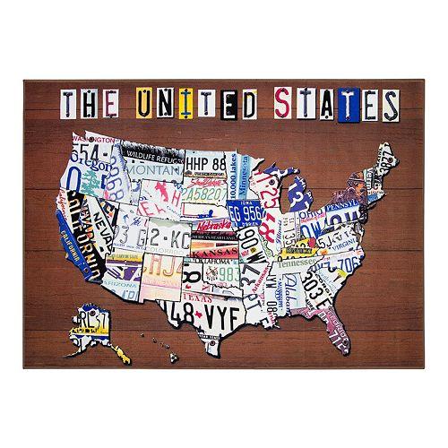 Floordecor USA United States License Plate Map Rug