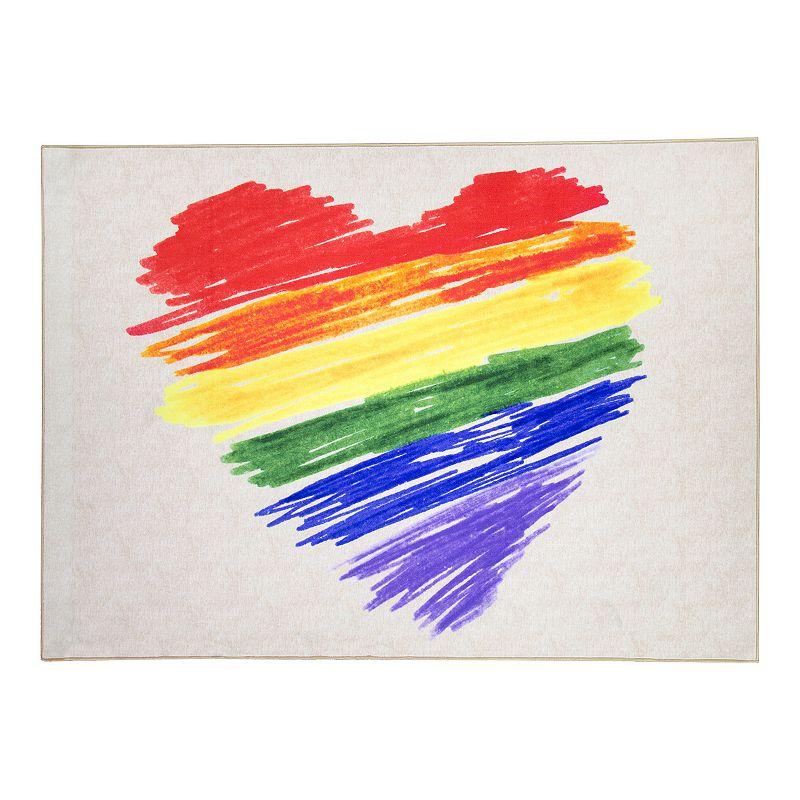 Floordecor USA Pride Rainbow Brushstroke Heart Rug, 5X7 Ft