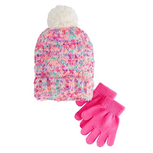 toddler girl chenille hat and mitten set