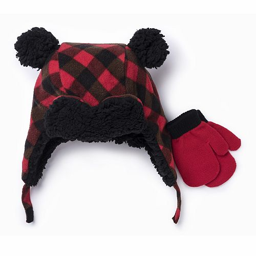 Toddler Boy Plaid Knit Trapper Hat