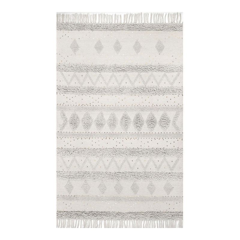 nuLOOM Lauretta Tassel Wool Rug, Light Grey, 3X5 Ft Product Image